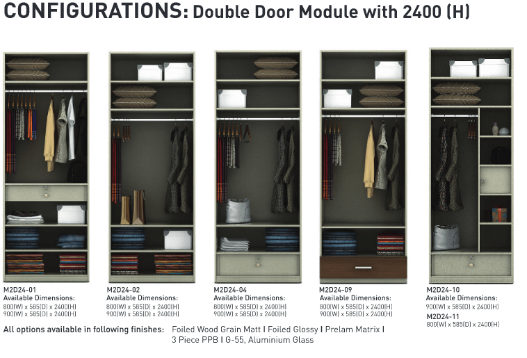 Configurations Double door module 2400 H