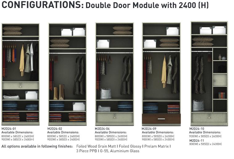 Configurations Double door module 2400 H