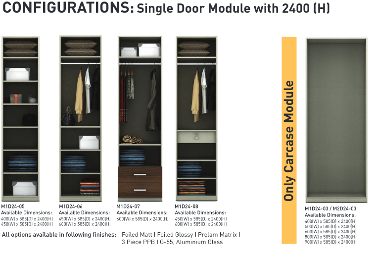 Configurations Single door module 2400 H-min